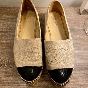 Chanel Beige Leather Espadrille 9